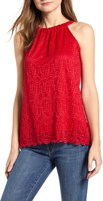 Loveappella Loveapella Lace Halter Neck Tank Top