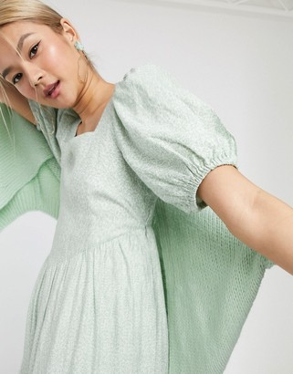 And other stories & vintage floral puff sleeve midi dress in sage green