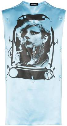 Raf Simons graphic print hoop embellished sleeveless satin T-shirt