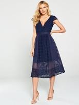 Little Mistress Crochet Lace Midi Dress - Navy
