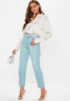 Missguided Blue Wrath Light Wash Cut Hem Distressed Straight Leg Jeans