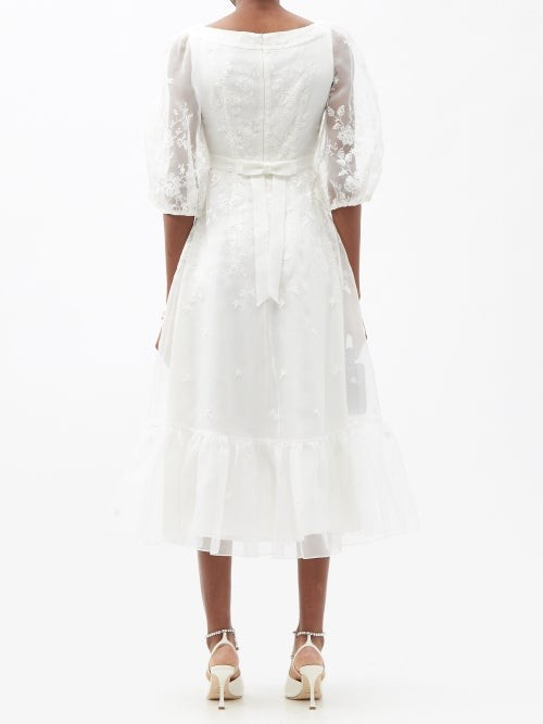 Thumbnail for your product : Erdem Floredice Floral-embroidered Organza Midi Dress - White