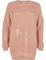 River Island Womens Light pink ribbed knit jumper