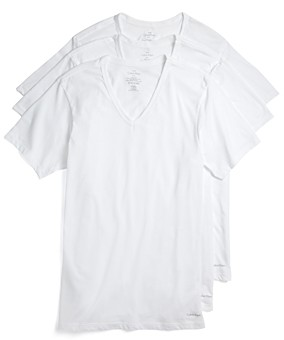 Calvin Klein Cotton Classics Slim Fit V-Neck Tees, Pack of 3