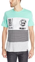 Southpole Men's Short Sleeve Cut and Sewn Stripe T-Shirt with HD Prints