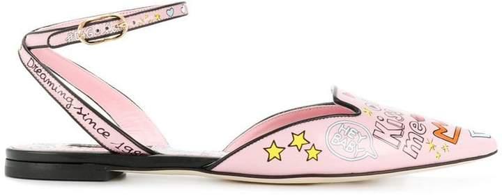 Dolce & Gabbana Bellucci mural print slippers
