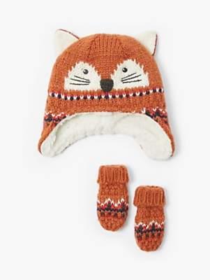 John Lewis & Partners Baby Fairisle Fox Hat and Mittens Set, Orange