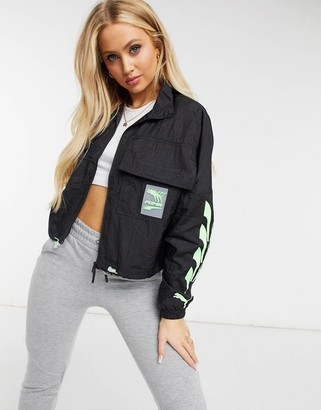 Puma Evide track jacket in black and green