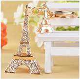 Casualfashion Chic Women Alloy Rhinestone Eiffel Tower Key Ring Car Keychain Girls Bags Decorative Pendants