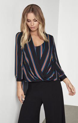 BCBGMAXAZRIA Striped Drape Front Blouse