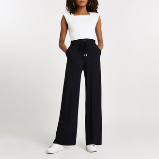 River Island Womens Black wide leg joggers