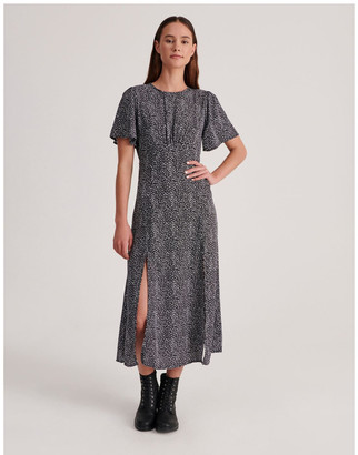 Missguided Flutter Sleeve Midi Dress Dalmatian