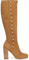 Maison Margiela Buttoned Suede Knee Boots - Tan