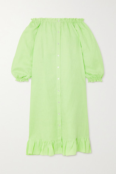 Thumbnail for your product : Sleeper Off-the-shoulder Ruffled Linen Midi Dress - Green