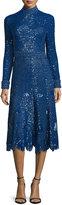 Derek Lam Sequined Long-Sleeve High-Neck Dress, Blue