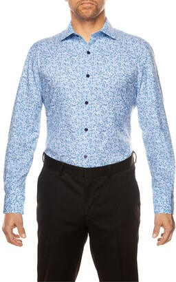 Work Rest Karma Trim Fit Floral Button-Up Performance Dress Shirt