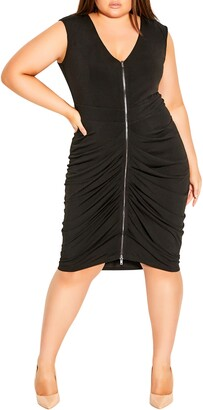 City Chic Ruched Front Zip Sleeveless Dress