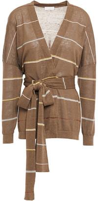 Brunello Cucinelli Striped Linen-blend Wrap Cardigan