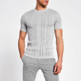 River Island Grey slim fit pointelle knitted T-shirt