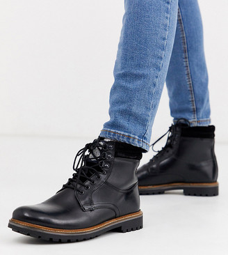 Base London Wide Fit Hide lace up boots in black