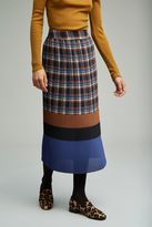 Anthropologie Zayit Pleated Check Maxi Skirt