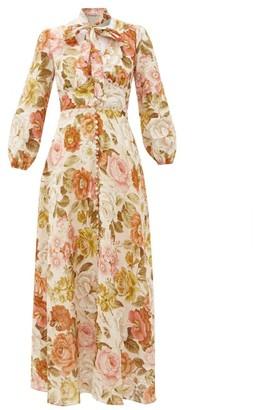 Zimmermann Bonita Floral-print Linen Maxi Dress - Womens - Cream Print