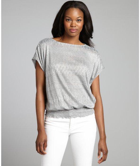 Ellen Tracy silver lurex chevron printed knit short sleeve top