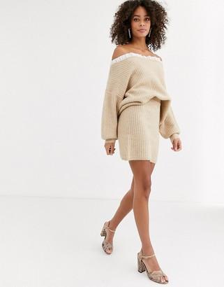 Never Fully Dressed knitted mini skirt in beige-Multi