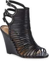 Schutz Women's Loreto Caged Leather Wedge Sandals