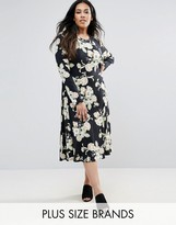 Club L Plus Skater Dress In Floral Print