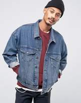 Asos Denim Jacket In Oversized Fit In Blue Wash
