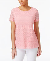 Charter Club Lace Scalloped-Hem Top, Only at Macy's