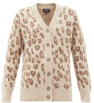 A.P.C. Erika Leopard-jacquard Alpaca-hair Blend Cardigan - Animal