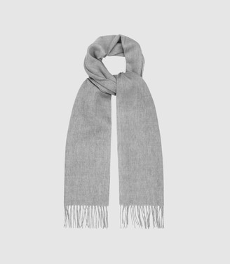 Reiss ASHTON LAMBSWOOL CASHMERE BLEND SCARF Soft Grey