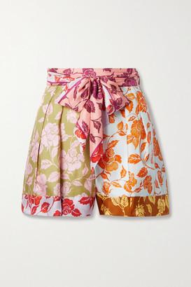 Zimmermann The Lovestruck Belted Floral-print Silk-twill Shorts - Pink