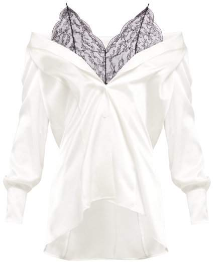 Maison Margiela Off The Shoulder Silk And Lace Blouse - Womens - White Black
