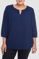 NYDJ Georgette 3/4 Blouse With Pleated Back In Plus