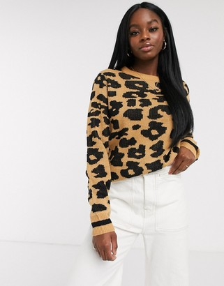 Brave Soul jumper in leopard jacquard