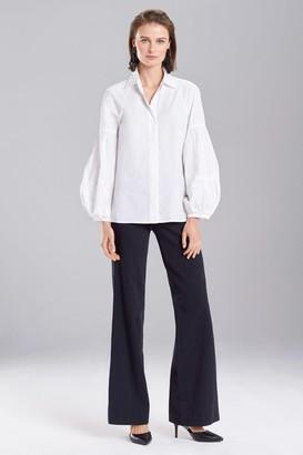 Natori Cotton Poplin Puffed Sleeve Top