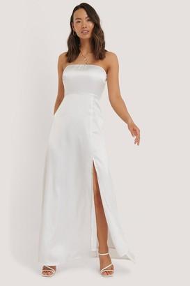 NA-KD Off Shoulder Satin Slit Dress