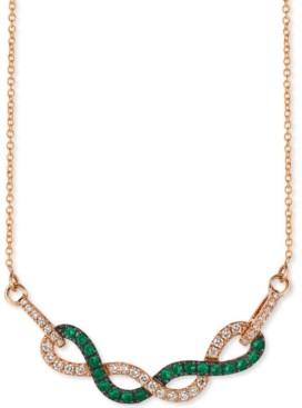 "LeVian Le Vian Costa Smeralda Emerald (1/3 ct. t.w.) & Vanilla Diamond (1/3 ct. t.w.) Fancy 18"" Statement Necklace in 14k Rose Gold"