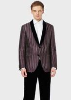 Giorgio Armani Soho Collection Slim-Fit, Half-Canvas Jacket In Jacquard Fabric