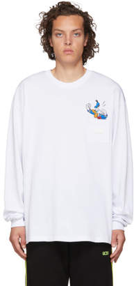 GCDS White Logo Donald Duck Long Sleeve T-Shirt