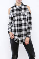 Velvet Heart Finely Cold Shoulder Plaid Top