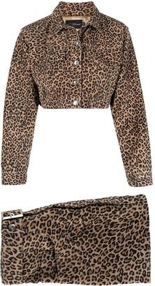 Manokhi Leopard-Print Two-Piece Skirt Suit