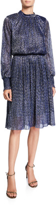 Sachin + Babi Catherine Metallic High-Neck Bishop-Sleeve Cinched-Waist Dress