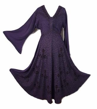 Doorwaytofashion Boho Pagan Dress Medieval Maxi Gothic Festival Halloween Embroidered Dress (Deep Red One Size: Regular 10 12 14 16)