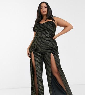 Asos DESIGN Curve velvet glitter cami jumpsuit with split leg-Black