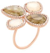 Meira T 14K Rose Gold, Rose Quartz, Labradorite & 0.64 Total Ct. Diamond Ring