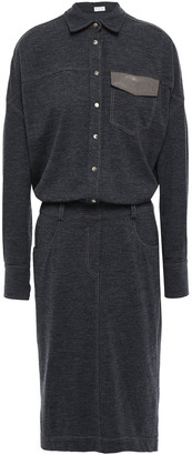 Brunello Cucinelli Bead-embellished Wool-jersey Shirt Dress